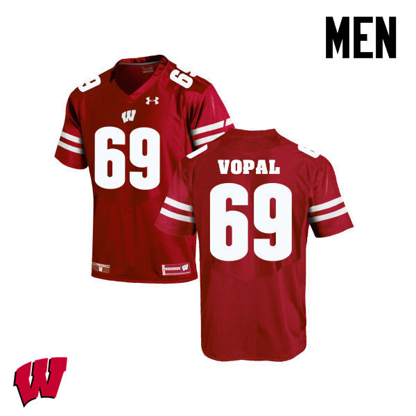 Men Winsconsin Badgers #69 Aaron Vopal College Football Jerseys-Red